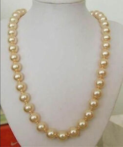 24'' Huge 12mm AAA Golden Yellow South Sea Shell Pearl Necklace