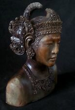 Antique finely carved Balinese heavy wood bust, 8.5 inches