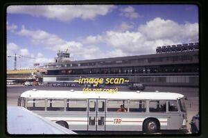 Lisboa Airport, Portugal & Woman on TAP Bus in 1970 lisbon, Original Slide g22b