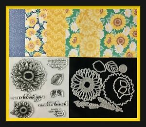 """Unbranded  """"CELEBRATE SUNFLOWERS"""" Stamp Set & Dies Stampin Up! FLOWERS DSP 🌻"""
