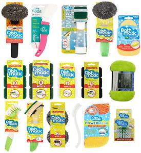 DishMatic Washing Up Brush Sponge Refills Non Scratch Scourer Heavy Duty