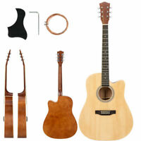 "New  41"" Adult Cutaway Folk Acoustic Guitar w/Bag Board Tool Burlywood"