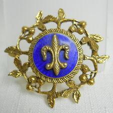 Vintage Estate Costume Fashion COBALT BLUE Pin Brooch Guilloche Fleur de Lis
