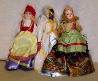 """3 Vintage Dolls of all Lands. Blue Bonnet Dolls. 8"""" Tall. Hard Plastic. 1960's."""