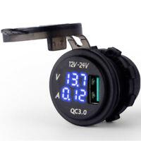 12V-24V USB Charger Blue LED Digital Display Voltage Amp Gauge Ammeter Voltmeter