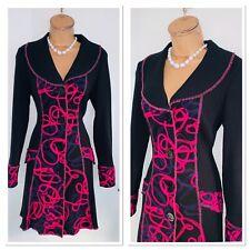 JOSEPH RIBKOFF Black Purple Embroidered Knitted Coat Uk Size 12