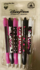 DISNEY Pink & Black MINNIE MOUSE 6 PACK PEN SET black ink rubber grip -BRAND NEW