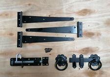 """Tee bisagra (3) 12"""" 300mm Kit de montaje de puerta de madera puerta de jardín Ferrería Set Negro"""