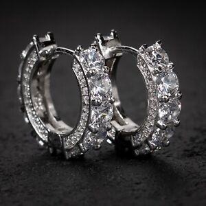 Big Stone Fully Iced CZ White Gold Sterling Silver Huggie Hoop Earrings For Men