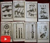 Militaria cannons warfare 1672 lot of 8 antique engraved prints Mallet