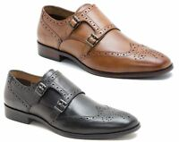 Red Tape Overton Brogue Double Monk Black Leather Mens Shoes Size Tan