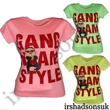 """Nuevo Chicas """"estilo Gangnam"""" Divertido Nuevo temporada Mangas Cortas Camiseta de Moda 2-13 año"""