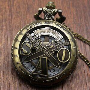 Mens Sword Art Online/One Piece/Skull Pirate Bronze Retro Quartz Pocket Watch