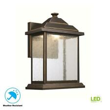 Trans Globe 1-Light Rubbed Oil Bronze Outdoor Integrated LED Wall Lantern Sconce