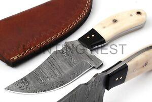 Hunting Nest Handmade Damascus steel hunting skinner knife camel bone handle 71H