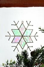 J Devlin Glass Art Iridescent Stained Glass Star Snowflake Ornament Suncatcher