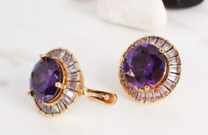 925 Sterling Silver Handmade Gemstone Turkish Amethyst Round Earring