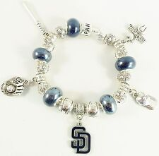 GLASS BEADS Official MLB SAN DIEGO PADRES Baseball Charm Silver Euro Bracelet