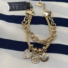 Guess Gold Tone Heart Charm Los Angeles Multi Strand Chain Designer Bracelet
