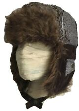 Brown patchworkinsulated fur trim trappers hat with ears immaculate Lge 59cm