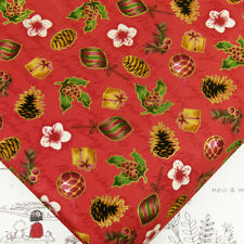 Cotton Fabric FQ - Season's Greetings Christmas Gift Candy Grape Flower J147 Red