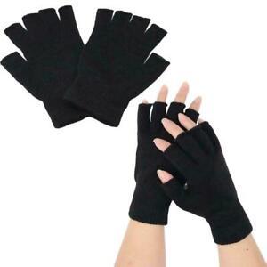Winter Fingerless Gloves Open Finger Black Soft Warm Knitted Glove Unisex