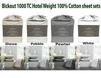 Blckout Elegance 1000TC Hotel Weight 100% Cotton Sheet Sets 4 Colour Queen
