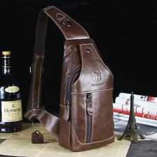 Mens Genuine Leather Sling Pack Chest Bag Shoulder Crossbody Messenger Sport Bag