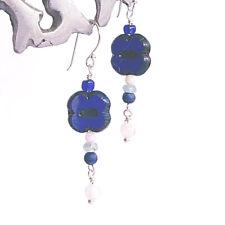 'Jana III' Czech Glass Dangle Earrings Sterling Silver Handcrafted Midnight Blue