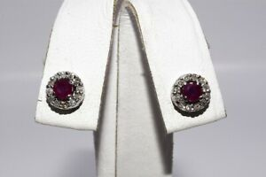 $1,100 .70CT NATURAL RED RUBY & DIAMOND HALO PETITE EARRINGS 14K WHITE GOLD