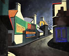 1950s FRENCH CUBIST OIL & TEMPERA ON BOARD - VILLAGE AT NIGHT - UNUSUAL WORK