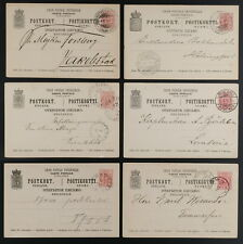 Finland  postal stationery 1890-1900 group of 6 cards used, various postmarks