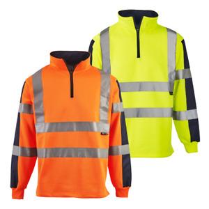 Super Touch Hi Vis Viz Two Tone Rugby Shirt Sweatshirt Safety Security Workwear