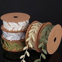 1 Meter Silk Leaves Ribbon  Vine Garlands Ribbon Sew On Lace Trim Craft DIY