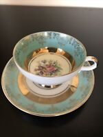 Johann Haviland Bavaria Turquoise/ Gold and Floral Demitasse Cup and Saucer Set