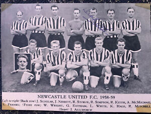 Signed Dick Keith Newcastle United FC Football Autograph Trade Card 1959 1960
