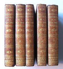 OEUVRES DE JEAN RACINE - 5/5 VOL. - ÉDITION STÉRÉOTYPE DIDOT - 1816 - RELIÉ