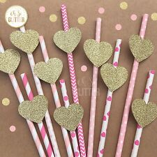 Wedding Table Decor, Paper Straws, Gold And Pink Straws, Wedding, Baby Shower