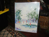 Original Oil Painting On Canvas Winter Scene Signed People Walking On Ice Pond