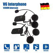 1200m Motorrad Helm Sprechanlage Gegensprechanlage Intercom Bluetooth 2PCS DE