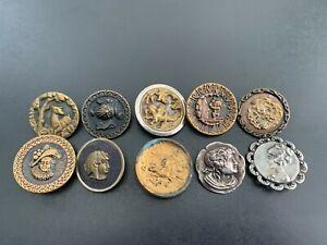 Lot of (10) Antique Vintage Metal Picture Buttons - BUTTON AUCTION #4