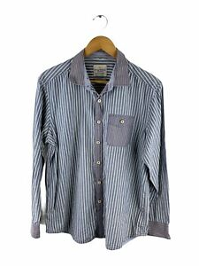 Tommy Bahama Jeans Button Up Shirt Mens Size M Grey Striped Long Sleeve Pockets