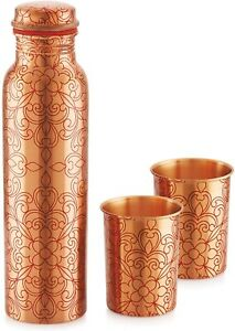 Copper Floral Water Bottle Drinkware 1000 ml with 2 Glasses Gift Set