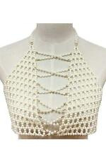 "34"" cream faux pearl necklace body bra swimsuit jewelry body chain vest"