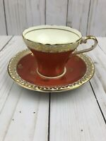 Vintage Aynsley Orange & Gold Flowers Teacup & Saucer