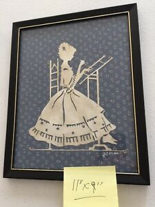 """Vintage HAND CUT PAPER SILHOUETTE AMISH LADY Framed Signed 11"""" x 9"""""""