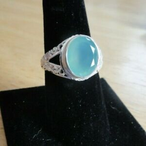 Solid Sterling Silver 925 Green Chalcedony Oval Stone Ring Size 9 PRETTY!!!