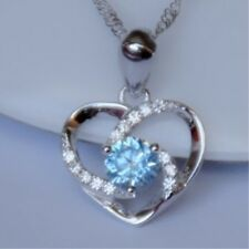 """Real Sterling Silver Love Heart Blue Crystal Pendant 18"""" Chain Charm Necklace 18"""