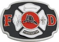 Belt Buckle FD Shield Firefighter Hydrant Axe Ladder Pewter Enamel Buckle Bakery