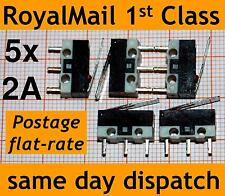 5x Microswitch with lever (Ultra mini sub micro switch) 2A 1A V5 SW052 MS-118